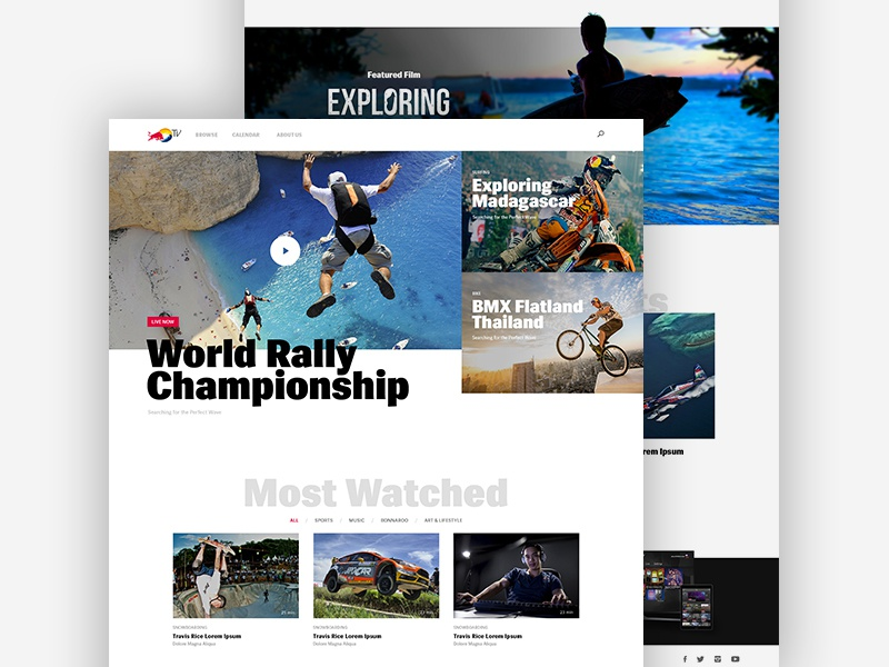 Red Bull TV action interface streaming white tv redbull video platform