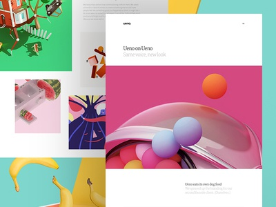 Ueno Branding – Case Study bananas boxes web grid colorful friendly type layout hero agency icons case study