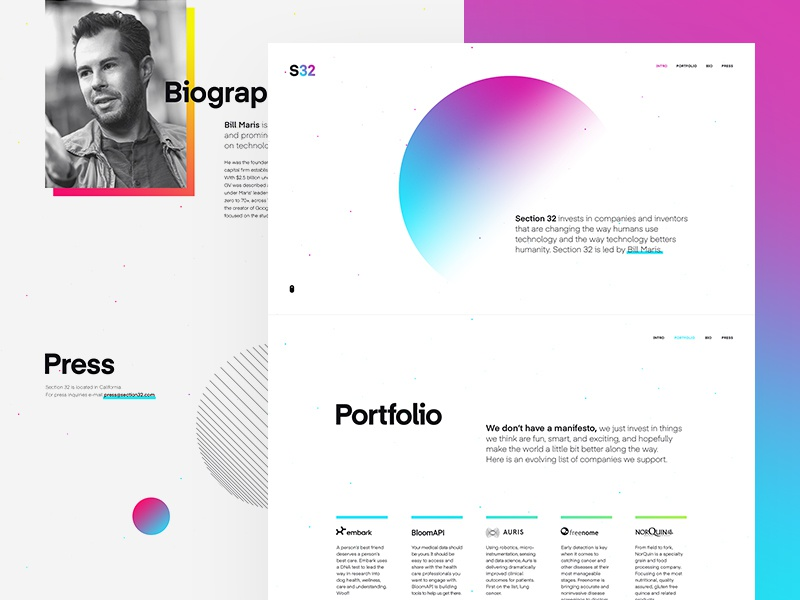 Section 32 – Homepage vector website diagonal tilting parallax gradients grid portfolio google venture