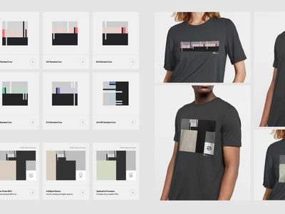 SiFive – Product Visualization module components custom branding vector gray mockup t-shirt chips pattern boxes grid