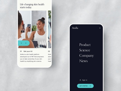 Atolla – Mobile Homepage art direction science tech mobile kickstart dermatology health beauty ecommerce eco skincare website