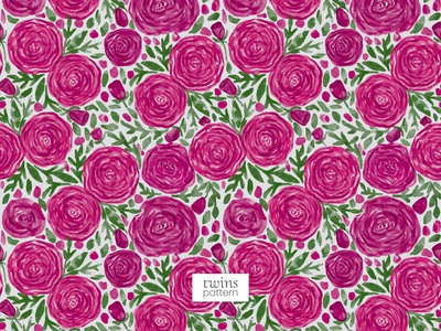 Watercolour Garden Dark Pink Floral Seamless Vector Pattern sweet roses roses nature pattern dark pink flower garden floral pattern vector pattern