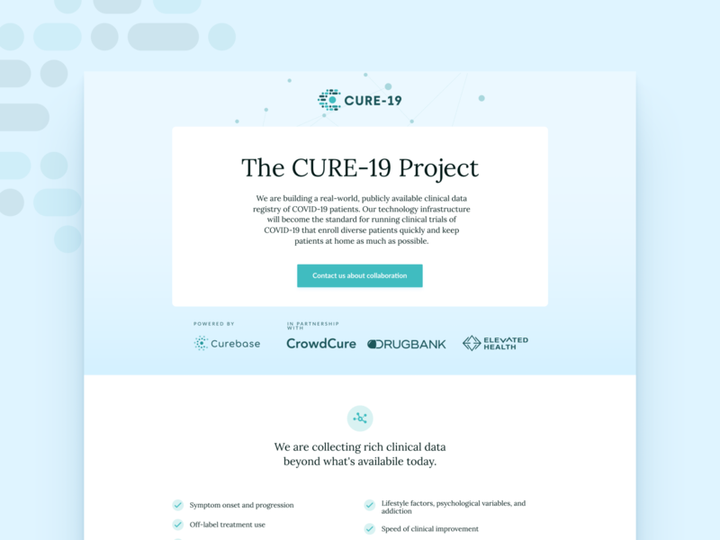 Cure 19 Landing page popular shot tech covid covid19 ux branding ui landing page web illustration uxui design