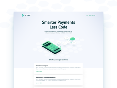 Primer Landing Page code api payment tech ui app web landing page illustration uxui design