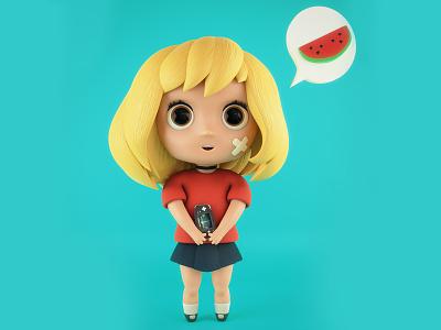 ChibiKoi gameboy watermelon koi kawai chibi blender3d cartoon character 3dart b3d 3d