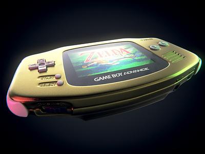 Gold Game Boy Advance retro vintage graphic design visualization product design nintendo advanced gameboy gba 3dart b3d 3d