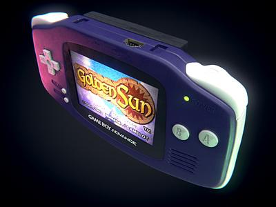 Purple Game Boy Advance product design portable nintendo goldensun gba vintage gaming retro videogame game game boy advanced