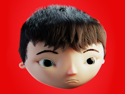 little guy red characterdesign face child kid asian 3dmoldeing illustration blender3d cartoon character 3dart b3d 3d