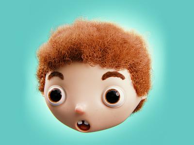 Little Redhead Boy child kid cyclesrender cycles blender3d blender head bigeyes curly hair redhair redhead face toon characterdesign illustration cartoon character 3dart b3d 3d