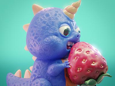 Berrydinocornio dragon somosmosh chepetusa dinosaurio dinosaur cartoon character 3dart b3d 3d