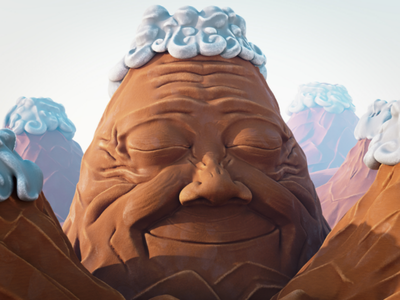 Day 10 Old character volcano sculptjanuary2020 b3d 3rt 3d