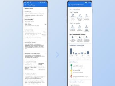 Redesigned - Policies for Cabs in Goibibo app ola uber ride cab travel live design app ux redesign