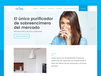 Landing page design clean minimal header onepage webdesign web design blue hero