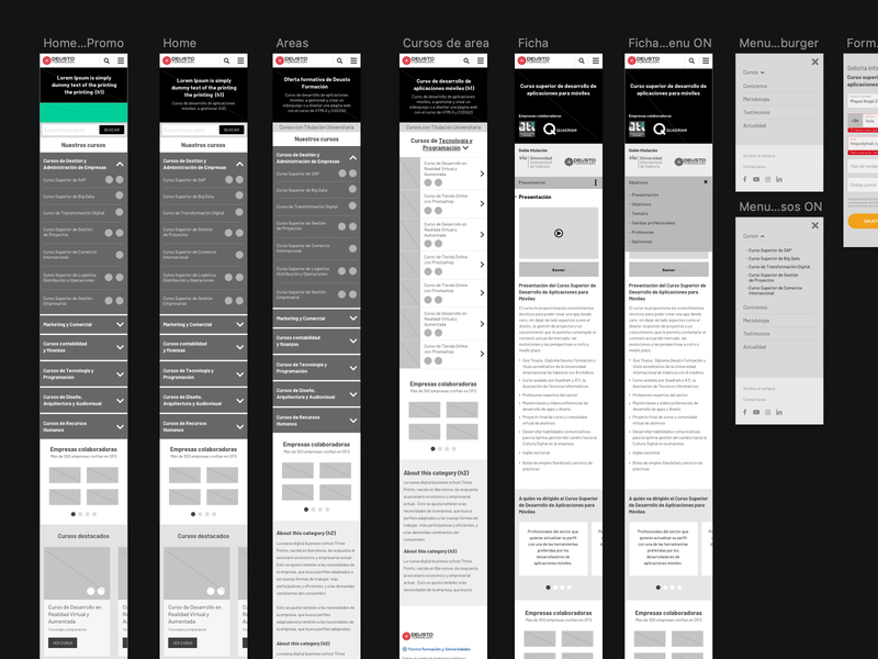 Wireframes new project website desktop mobile barcelona black web webdesign mockup wireframe