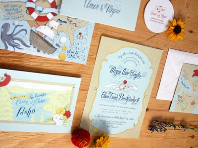 Final invite and save the date printed pieces invitations save the date print hand drawn illustration northwest wedding flowers nautical