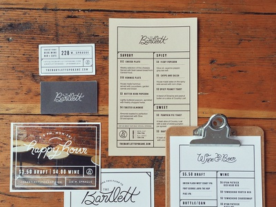 Bartlett Menus and stuff menus cards printed layout design spokane