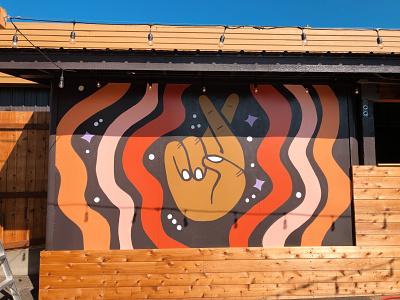 Lucky You Mural crossed fingers lucky illustration spokane mural design mural