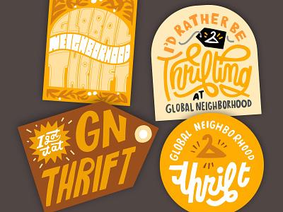 sticker designs hand drawn lettering thrift stickers