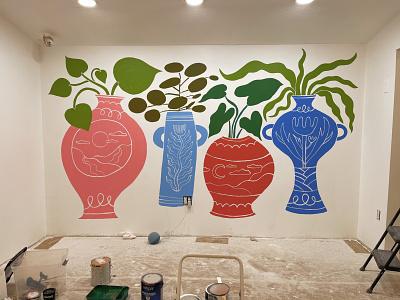 Chop Shop Mural hand drawn pots vases plant pots plants illustration mural