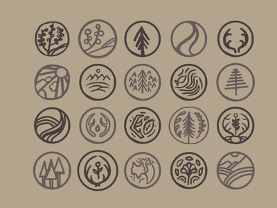 hand drawn nature icons icons nature hand drawn plants deer fox trees rivers
