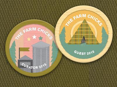 Farm Chicks Badges spokane embroidery stitched illustration camping silo