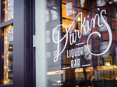 Durkin's signage spokane logo restaurant branding vintage script hand lettering