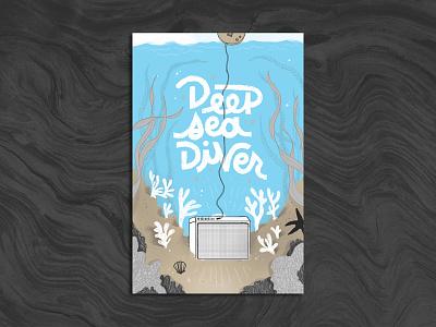 Deep Sea Diver Poster deep sea diver spokane bartfest poster show bartfest ocean under the sea illustration