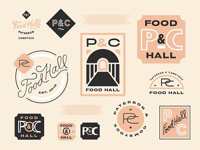 food hall icons set monogram icons lettering logo branding logos