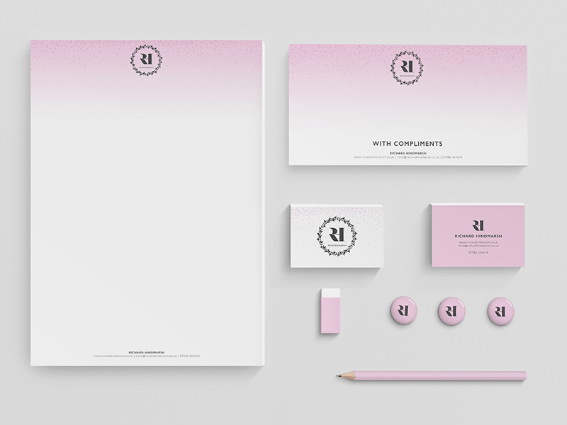 Branding for wedding photographer comp slips letterheads business cards stationary wedding logo design branding