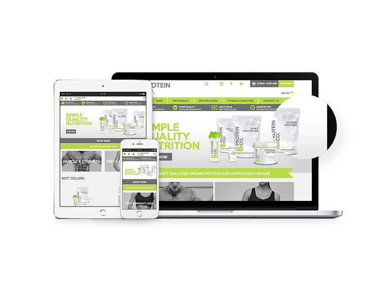 PROTEIN&CO Ecom website design and build bespoke template wordpress protein ecom design website