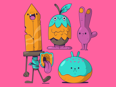The Fantastic Four. doughnut sword hand 2d characterdesign character cartoon illustration