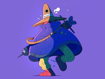 The One Eyed Raven. hat sword eye purple characterdesign character cartoon illustration