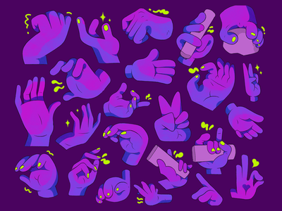 Purple Hands. green fingers hand hands purple 2d cartoon illustration