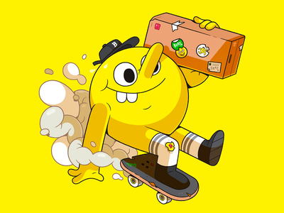 Blast Skates Mascot. skate parcel yellow delivery skateboard illustrator characterdesign character cartoon illustration