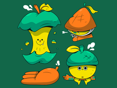 Greenhouse Gang. simple nut apple green food 2d characterdesign illustrator character cartoon illustration