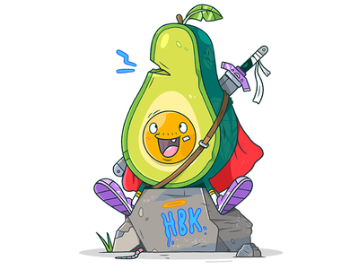 Avocado Warrior. nike avocado illustration warrior sword weapon cartoon character food