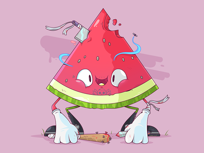 Watermelon Gang. melon happy weapon gang watermelon fruit food illustrator cartoon character illustration