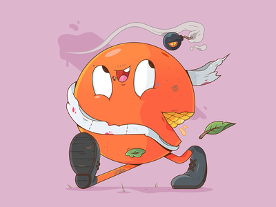Orange Gang character design 2d happy weapon gang orange fruit food illustrator cartoon character illustration
