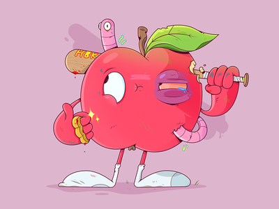 Apple Gang. worm character design 2d weapon gang apple fruit food illustrator cartoon character illustration