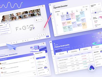 AuLAB LMS web app colorful digital platform learning school dashboard experimental design product design lms identity design illustration logo branding ux ui