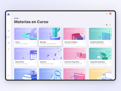 AuLAB Subjects Dashboard purple colorful web app learning management system learning lms product design teens school subjects dashboad ux ui identity design branding