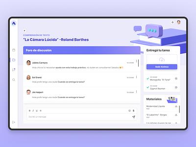 AuLAB Homework Screen dashboad product design web app learning management system lms school teens purple ux ui identity design branding