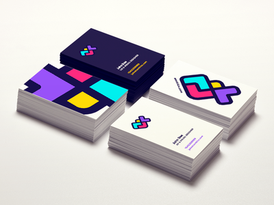 Branding colorful rgb business cards stationary branding