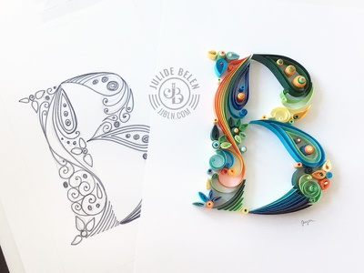 JJBLN | Quilled Paper Art: B paper art paper quilled paper art quilling monogram initial b hand lettering typography