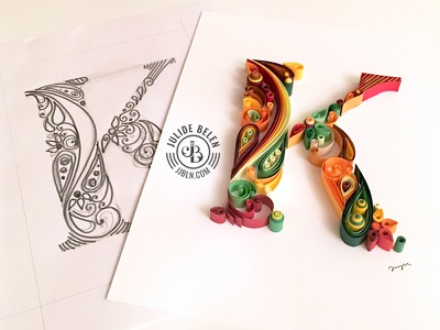 JJBLN | Quilled Paper Art: K design k typography illustration art paper quilled paper art quilling monogram