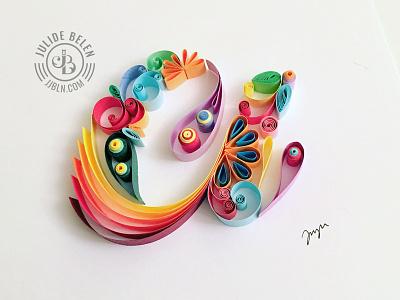 JJBLN   Colorful a paper illustration quilled paper art paper art colorful typography hand lettering lettering