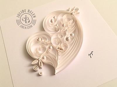 JJBLN   Pure Love love white on white paper illustrations paper art quilled paper art quilling heart white