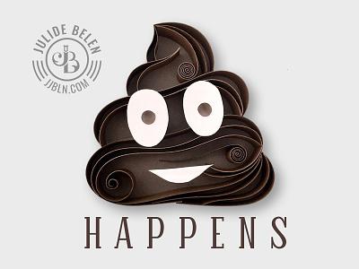 JJBLN   EmojiTime emoji quilling quilled paper art paper art poop shit happens brown funny