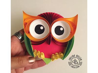 JJBLN   Give a Hoot! quilling quilled paper art paper art paper illustration bird owl hoot