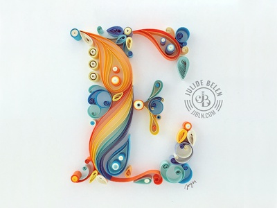 JJBLN | E letters quilled quilling paper art quilled paper art typography lettering hand lettering e